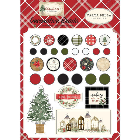 Carta Bella - Christmas Decorative Brads 25 pack Plus 4 Chipboard Pieces