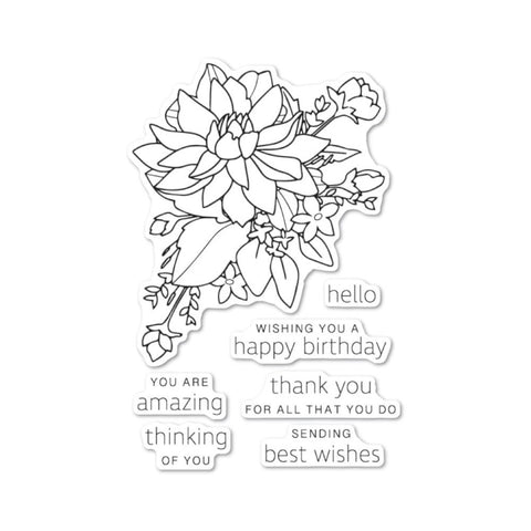 Poppystamps - Clear stamp set - Peony Bouquet