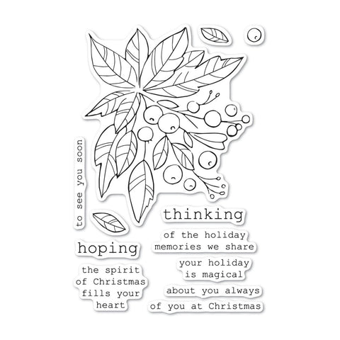 Memory Box - Clear Stamp Set - Holiday Greenery