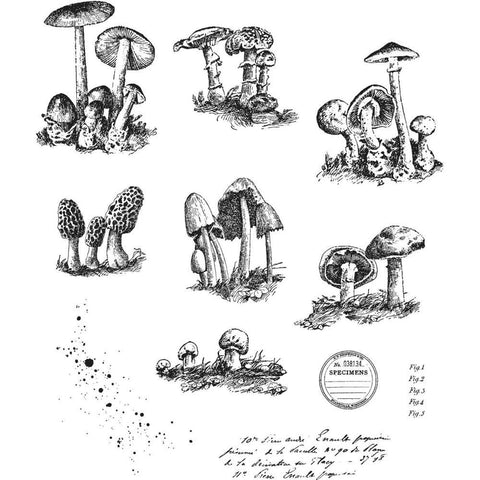 Tim Holtz Cling Stamps 7 inchX8.5 inch - Tiny Toadstools