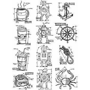 Tim Holtz Cling Rubber Stamp Set 7x8.5In. - Mini Blueprints #9