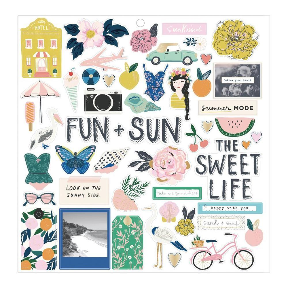 Crate Paper - Maggie Holmes Sunny Days Chipboard Stickers 51 per pack with Gold Foil Accents