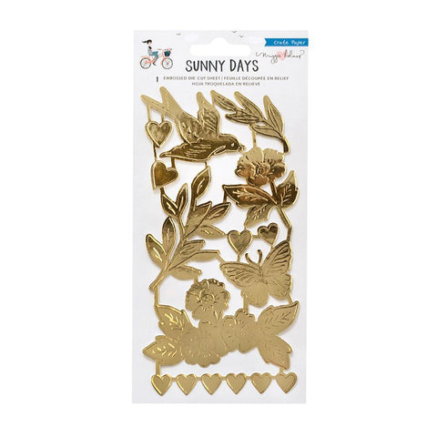Crate Paper - Maggie Holmes Sunny Days Embossed Die-Cuts - Gold Foil Coated