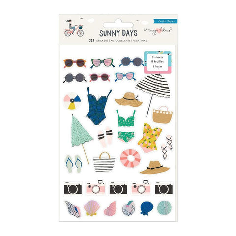 Crate Paper - Maggie Holmes Sunny Days Sticker Book 202 per pack - Icons & Phrases with Foiled Accents