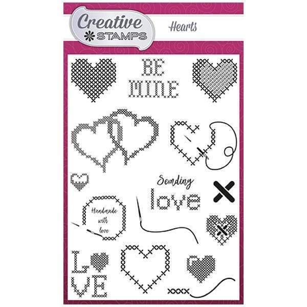Creative Stamps Cross Stitch Collection A6 Stamp Set - Hearts