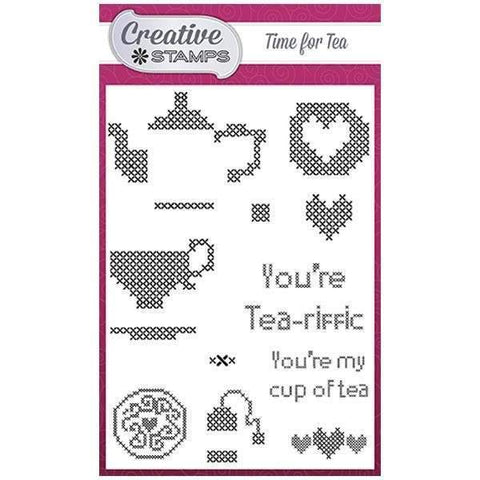 Creative Stamps Cross Stitch Collection A6 Stamp Set - Time For Tea
