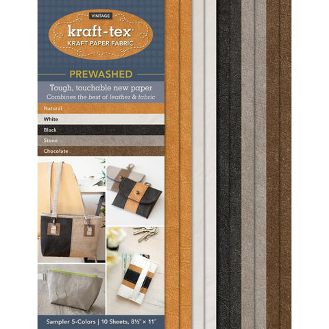 kraft-tex Prewashed Vintage Sampler 8.5in x 11in 10 pack 2 Each of 5 Colours