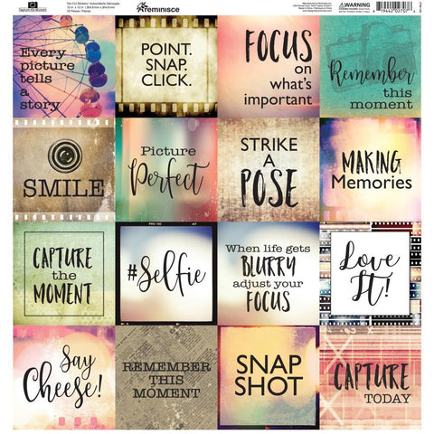 Reminisce Square Cardstock Stickers 12x12 inch - Capture The Moment