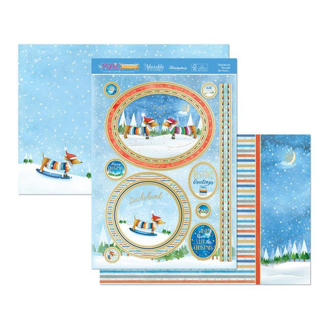 Hunkydory The Magic Of Christmas Luxury A4 Topper Set - Dachshund Through The Snow