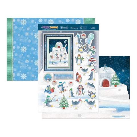 Hunkydory The Magic Of Christmas Luxury A4 Topper Set - Penguin Partytime.