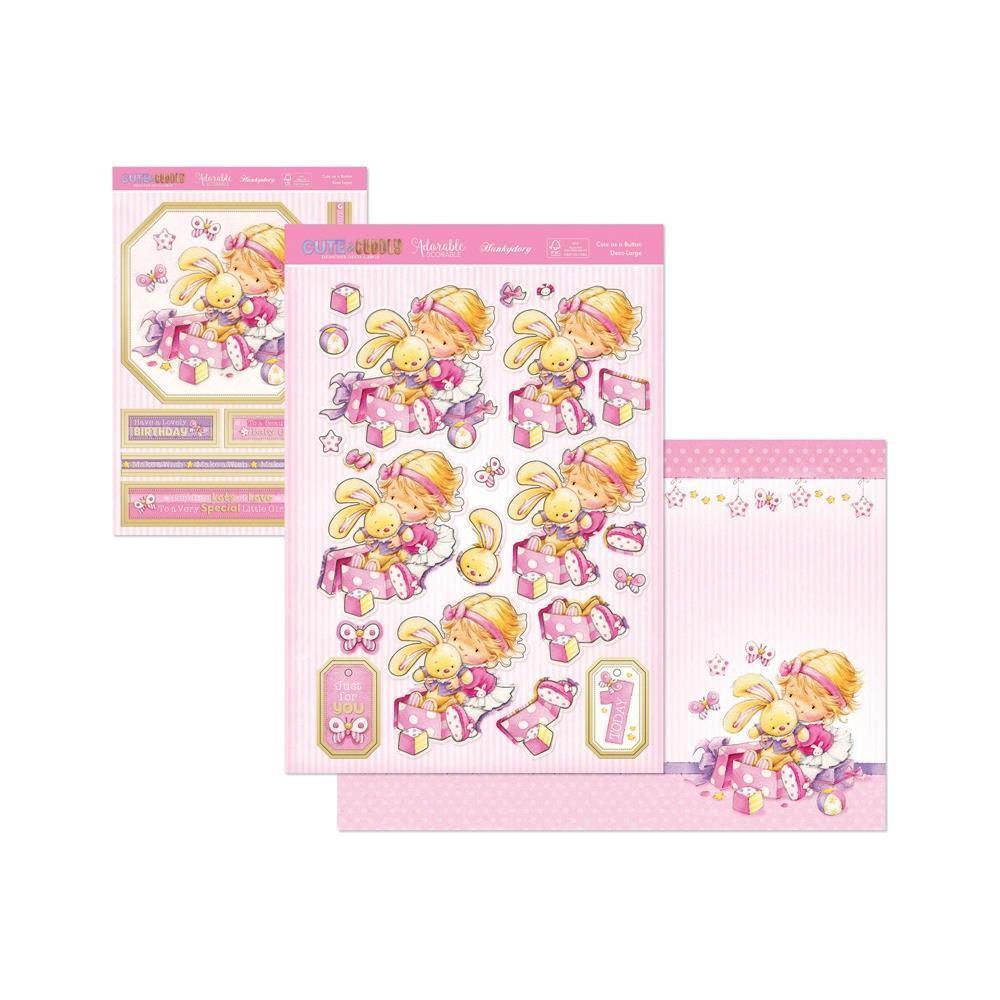 Hunkydory Cute & Cuddly A4 Decoupage Large Set - Cute As A Button