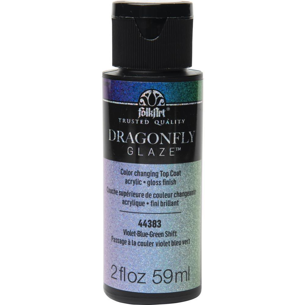 Folkart Dragonfly Glaze Topcoat 2.5oz - Violet, Blue, Green Shift