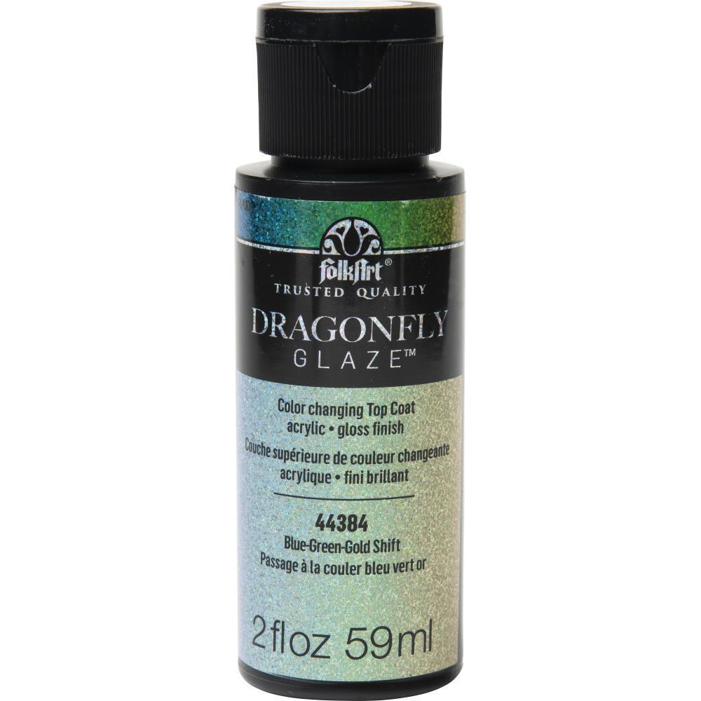 Folkart Dragonfly Glaze Topcoat 2.5oz - Blue, Green, Gold Shift