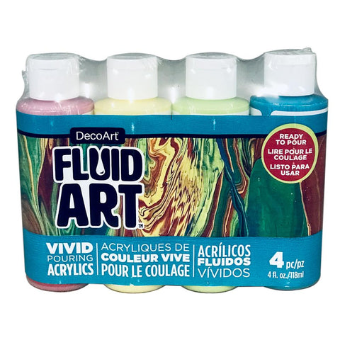 Deco Art - FluidArt Paint Pouring Value Pack 4 pack - Tropical