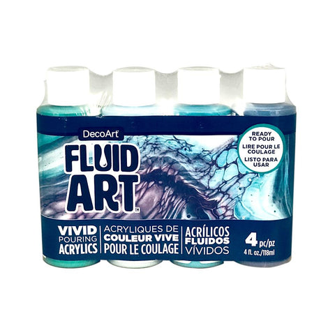 Deco Art - FluidArt Paint Pouring Value Pack 4 pack - Lagoon