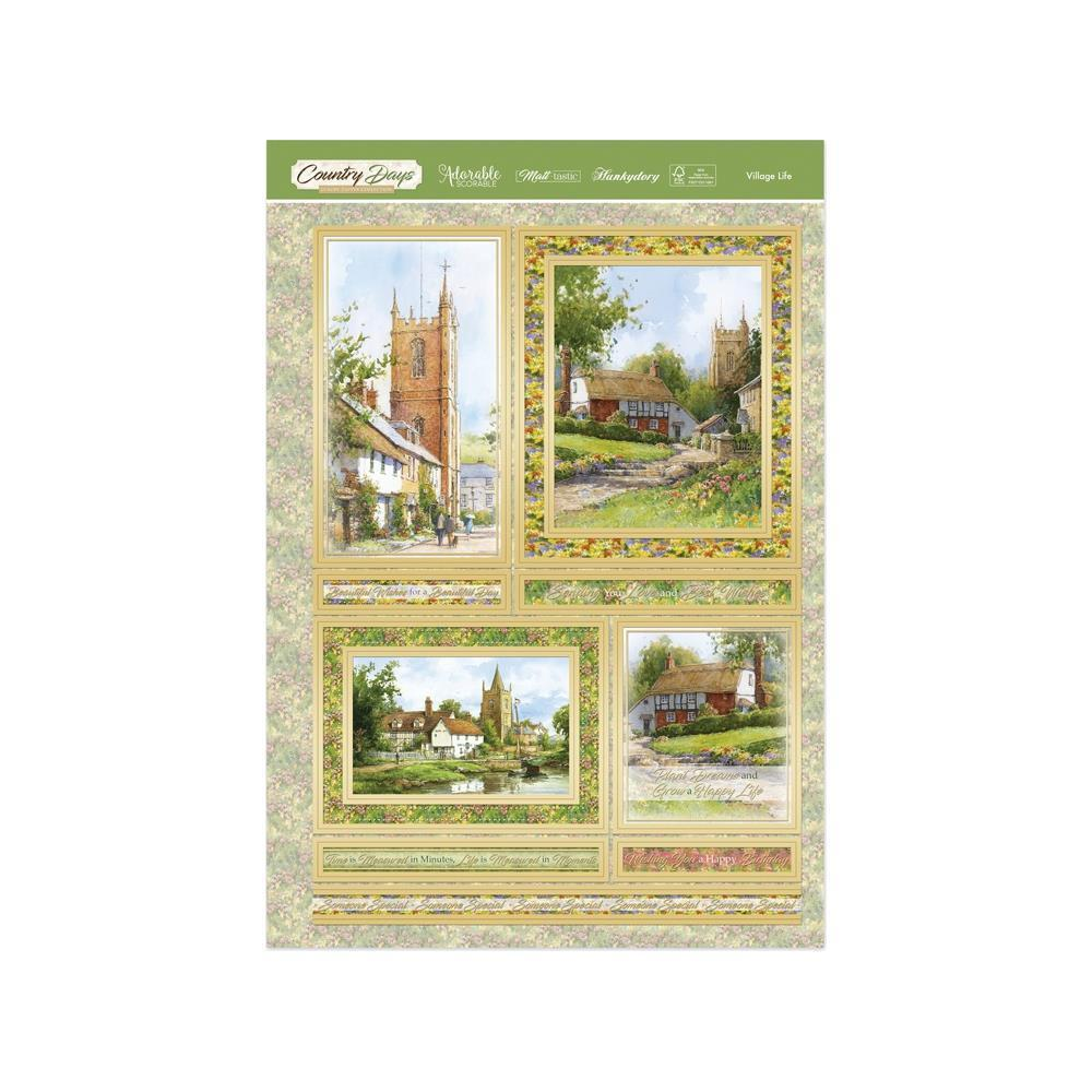Hunkydory Country Days Luxury A4 Topper Set - Village Life