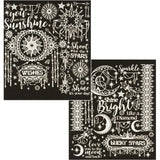 Dazzles Stickers 7.75 inch X9 inch 2 pack Twilight Jewels-Silver Pearl
