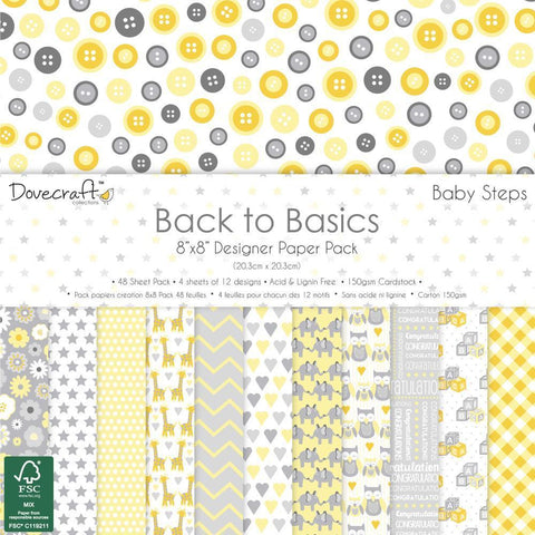 Dovecraft Back To Basics - 8x8 inch Paper Pack 48 Pk - Baby Steps