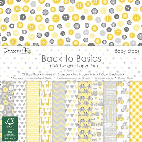 Dovecraft Back To Basics - 6x6 inch Paper Pack 72 Pk - Baby Steps