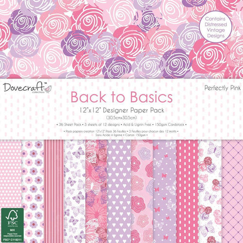 Dovecraft Back To Basics - 12x12 inch Paper Pack 36 Pk - Perfectly Pink