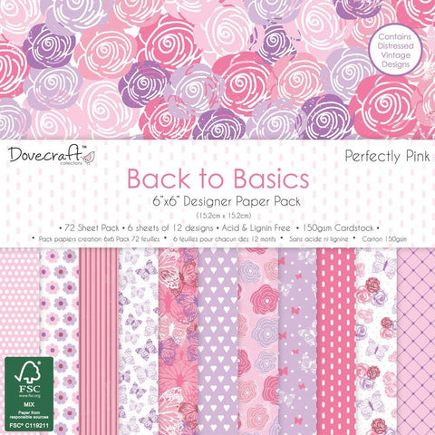 Dovecraft Back To Basics - 6x6 inch Paper Pack 72 Pk - Perfectly Pink