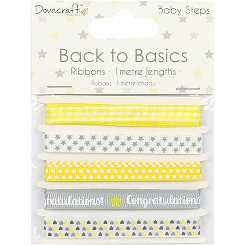 Dovecraft Back To Basics - Ribbon Pack 5 Pk - Baby Steps