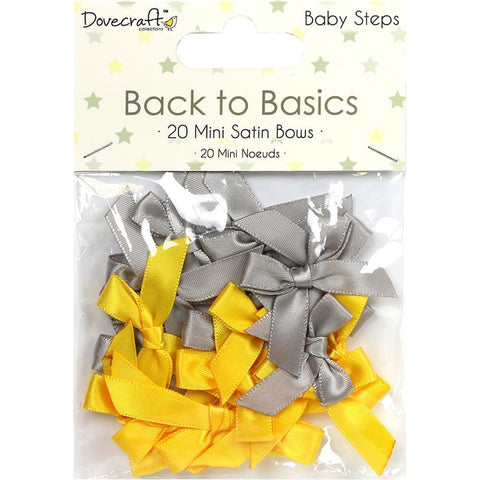Dovecraft Back To Basics - Mini Satin Bows 20 Pk - Baby Steps