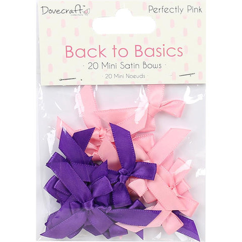 Dovecraft Back To Basics - Mini Satin Bows 20 Pk - Perfectly Pink