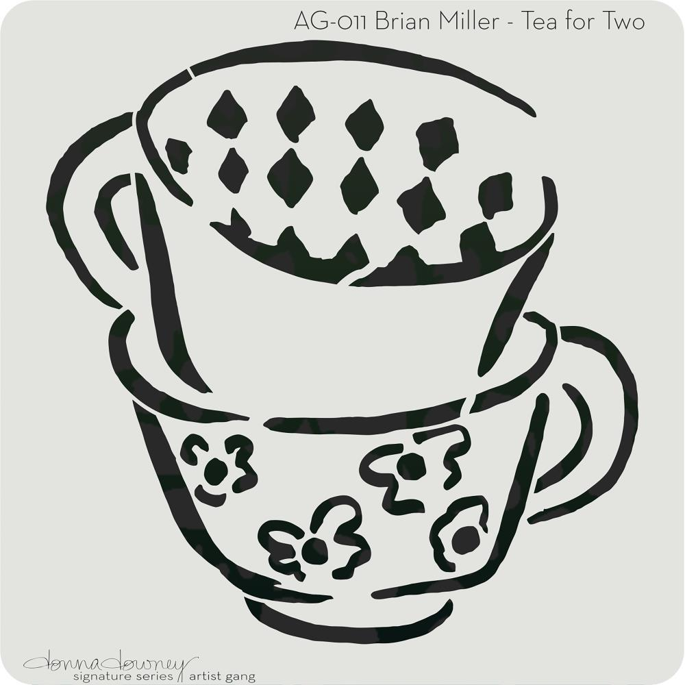 Donna Downey Artist Gang Stencils 8 inch X8 inch - Tea For Two