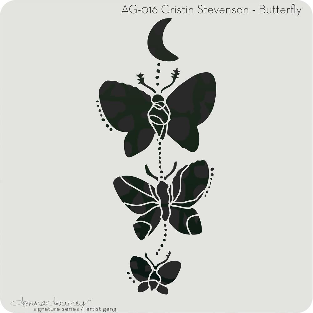 Donna Downey Artist Gang Stencils 8 inch X8 inch - Butterfly