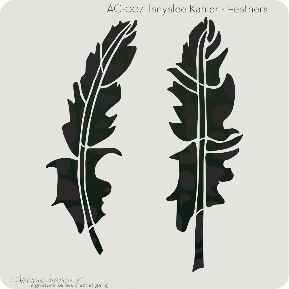 Donna Downey Artist Gang Stencils 8 inch X8 inch - Feathers