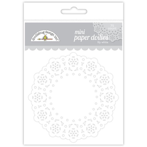 Doodlebug Mini Doilies 3 inch Lily White - 75 pack