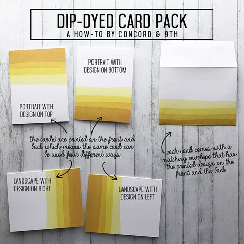 Concord & 9th Dip-Dyed Card Pack with Envelopes