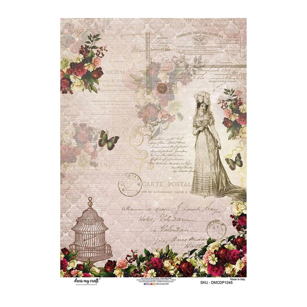 Dress My Craft Decopatch Rice Paper A3 - Victorian Floral