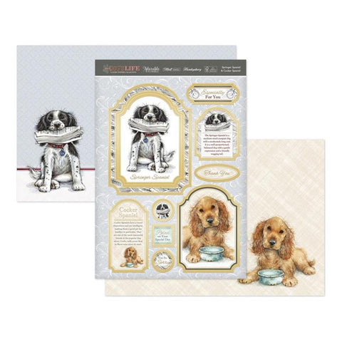 Hunkydory Its A Dogs Life Luxury A4 Topper Set - Springer Spaniel & Cocker Spaniel