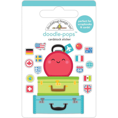 Doodlebug Doodle-Pops 3D Stickers - Pack Your Bags, I Heart Travel