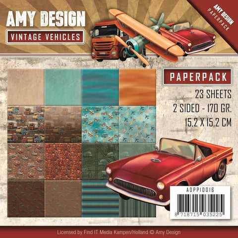 Amy Design Double-Sided Paper Pack 6x6 inch 23 pack Vintage Vehicles, 16 Double-Sided Design