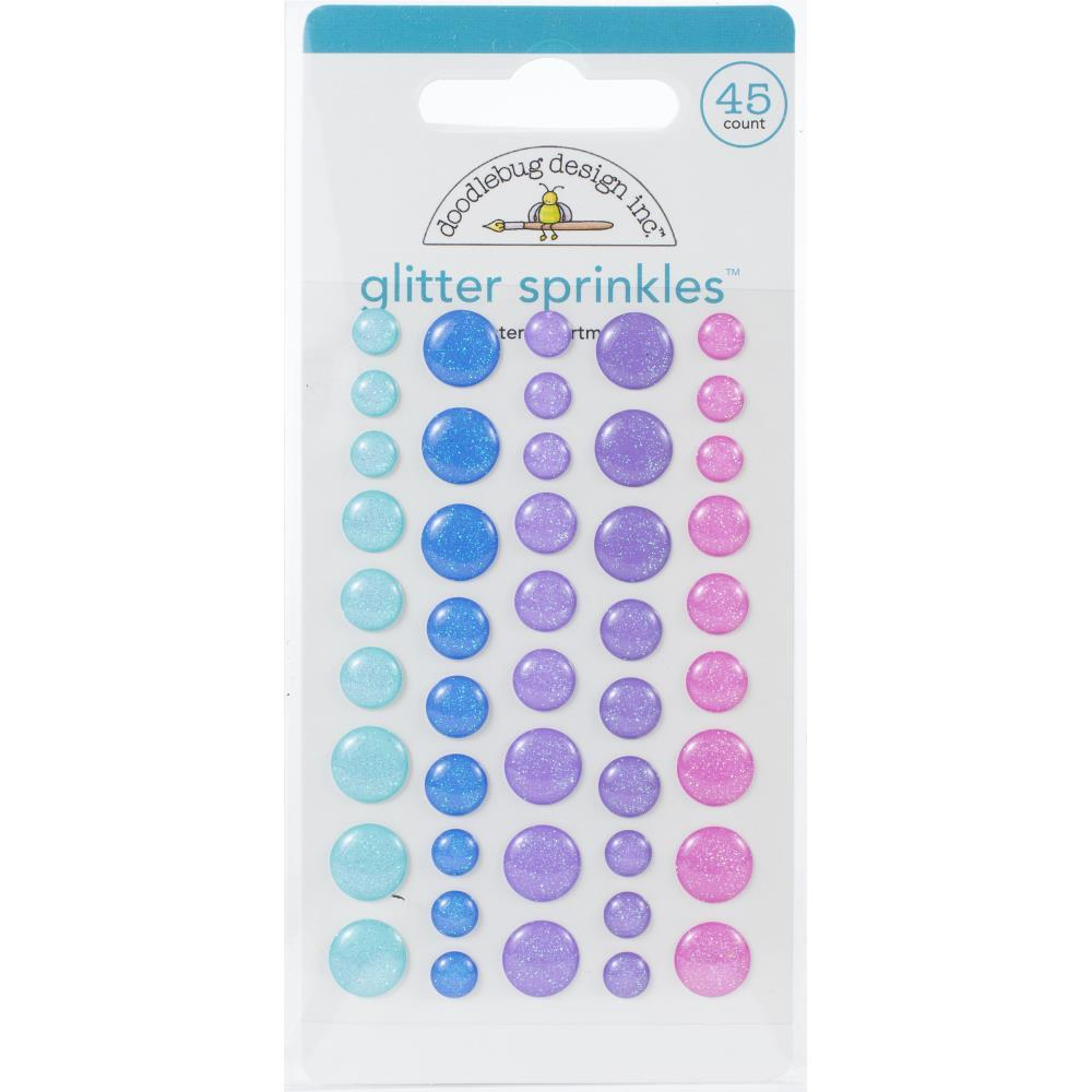 Doodlebug Sprinkles Adhesive Glitter Enamel Dots 45 pack - Winter Assortment, Winter Wonderland