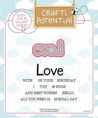 Crafti Potential Crafti Words Collection - Love - Die and Stamp Set