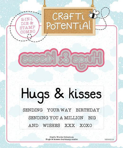 Crafti Potential Crafti Words Collection - Hugs & Kisses Die & Stamp Set