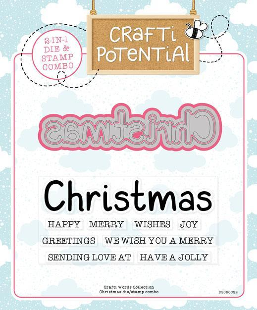 Crafti Potential Crafti Words Collection - Christmas Die & Stamp Set