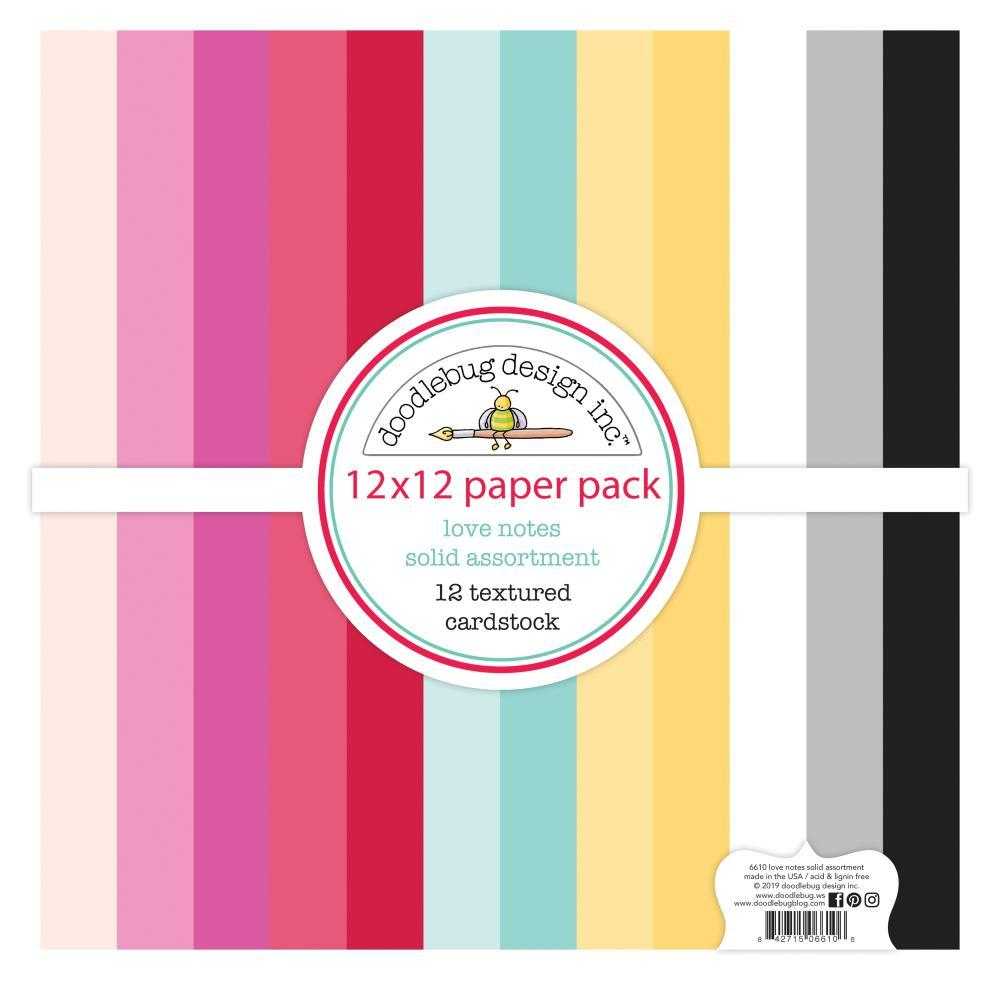 Doodlebug Textured Double-Sided Cardstock 12in x 12in Pack - Love Notes