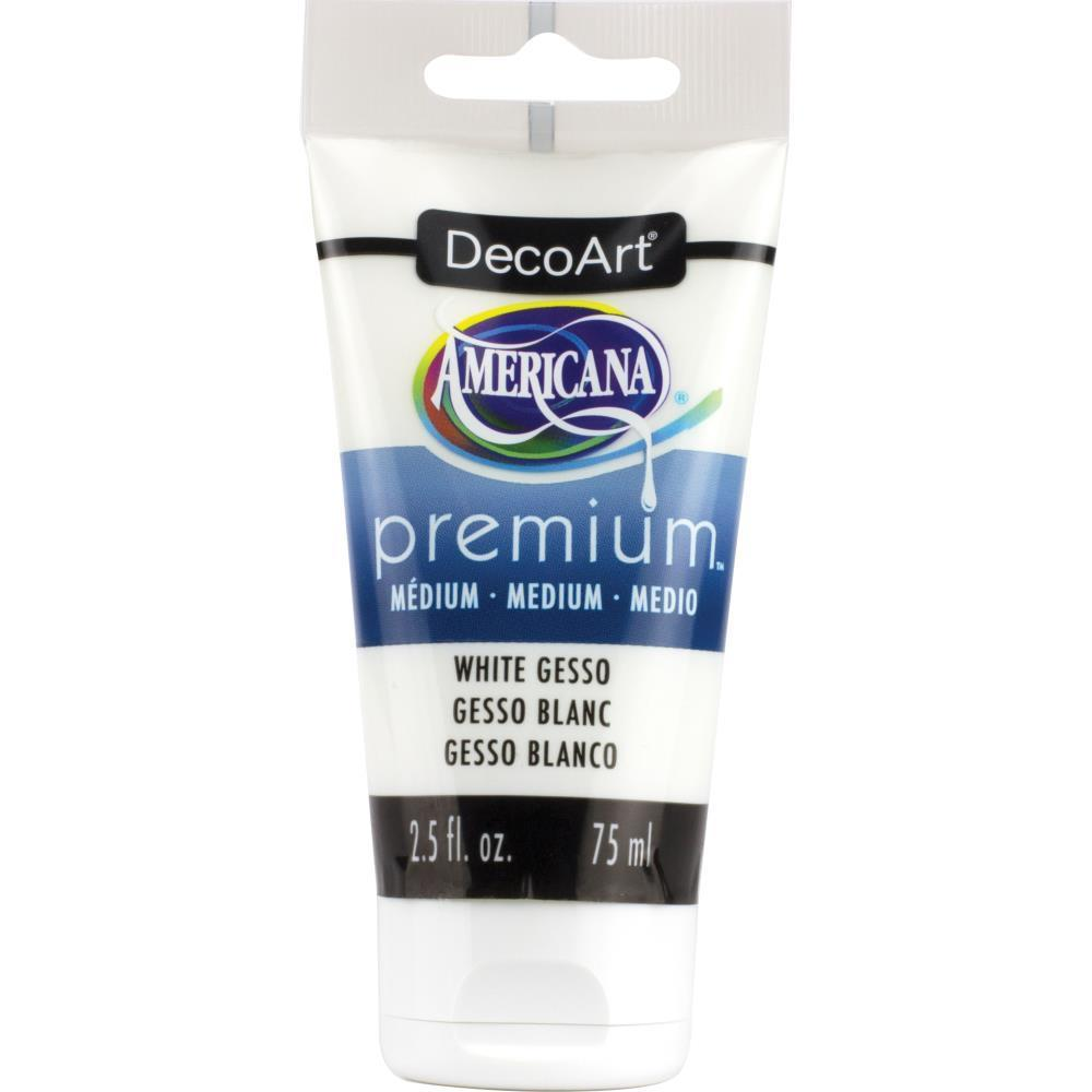 DecoArt Americana Premium Acrylic Medium Paint Tube 2.5oz - White Gesso