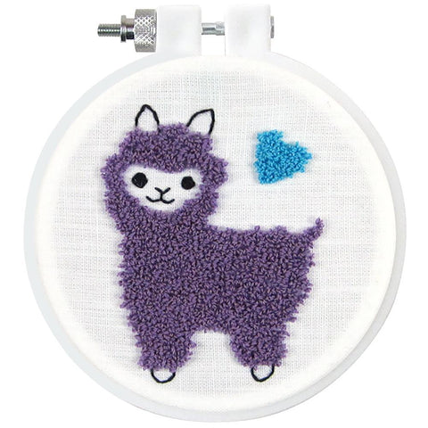 Design Works Punch Needle Kit 3.5 inch Round - Llama