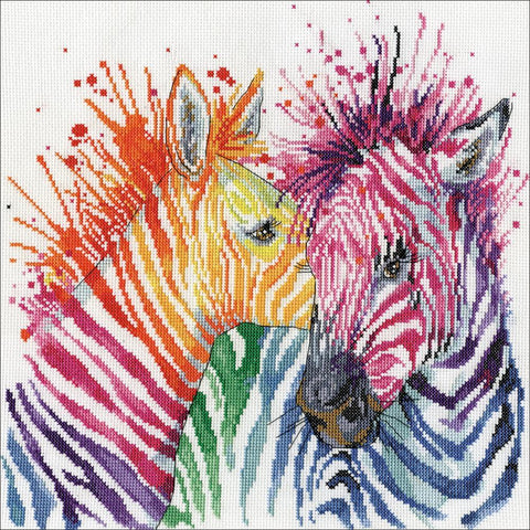 Design Works Counted Cross Stitch Kit 12x12 inch - Colourful Zebras (14 Count)