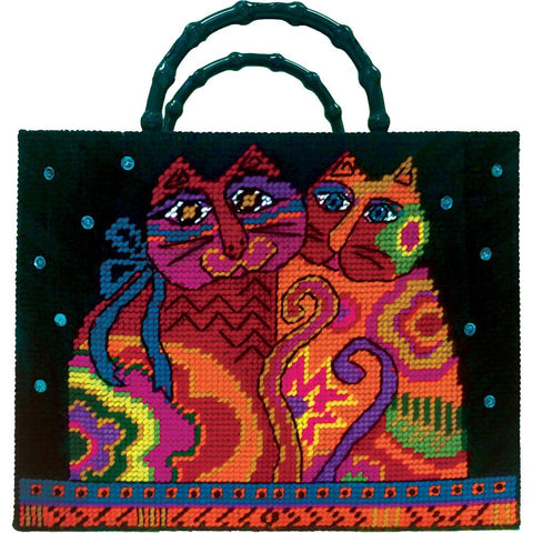 Design Works Plastic Canvas Tote Bag Kit 13x10 inchX3 inch - Cat