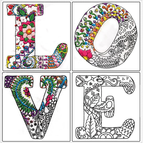 Zenbroidery Stamped Embroidery 12x12 inch - Love