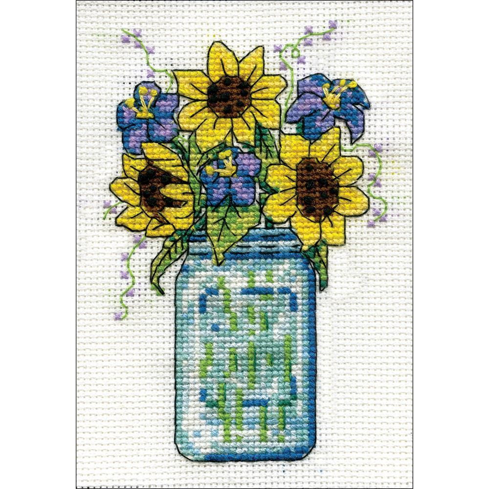 Design Works Stitch & Mat Counted Cross Stitch Kit 3x4.5 inch - Floral Jar (18 Count)