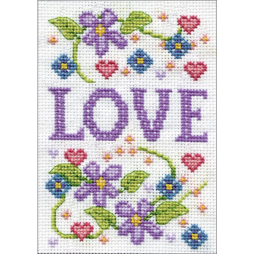 Design Works Stitch & Mat Counted Cross Stitch Kit 3 inch X4.5 inch Love (18 Count)