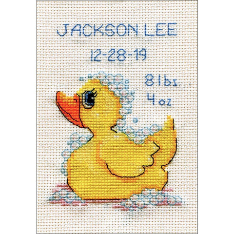 Design Works Stitch & Mat Counted Cross Stitch Kit 3x4.5 inch - Rubber Ducky (18 Count)